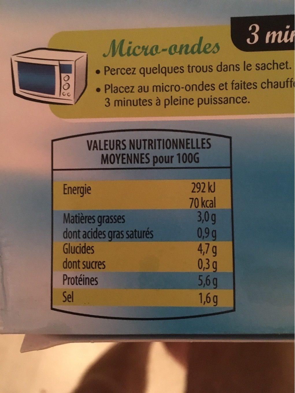 Moules cuisinées au beurre, ail et persil - Informations nutritionnelles