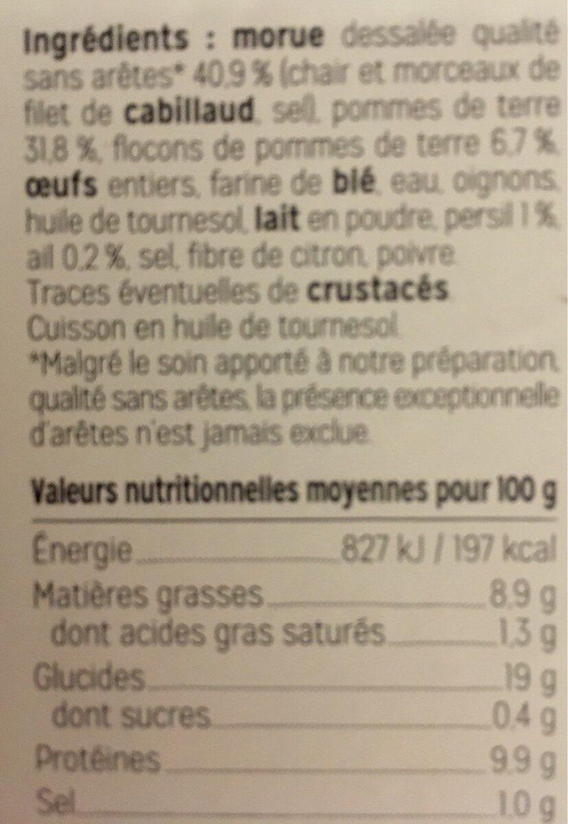 Beignets à la morue - Voedingswaarden - fr