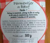 Parmentier de boeuf - Ingrédients - fr
