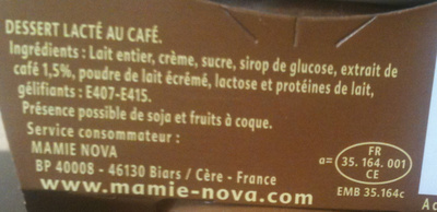 Gourmand Dessert Café - Ingrédients - fr