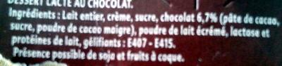 Gourmand Dessert Chocolat - Ingrédients