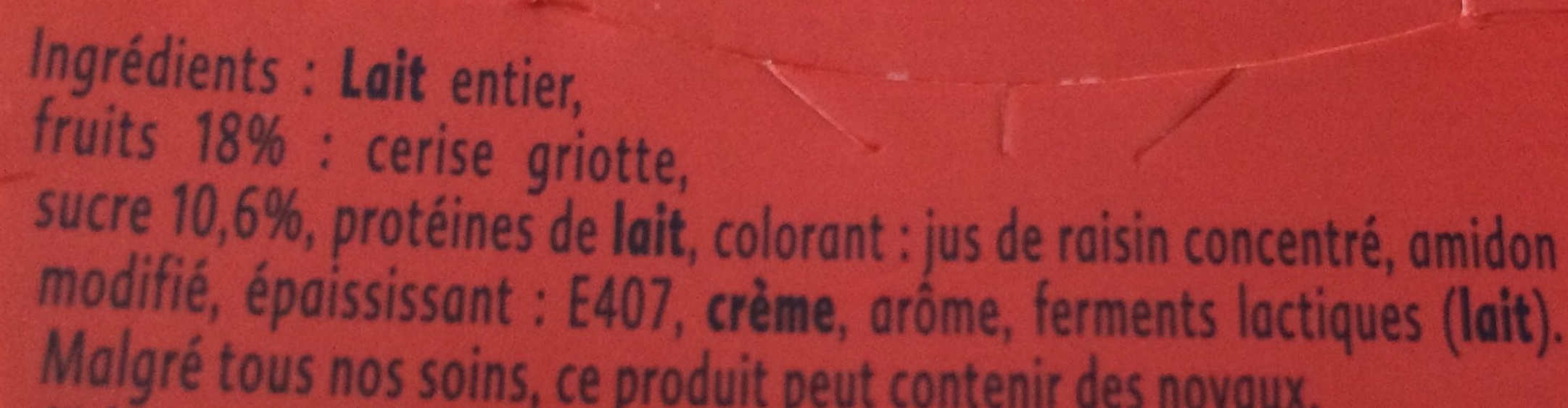 Yaourt cerises griottes - Ingredients