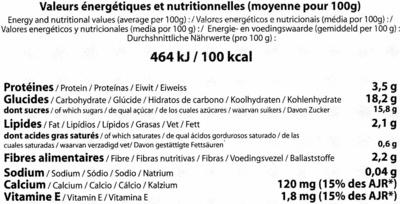 Postre de soja con chocolate - Informació nutricional