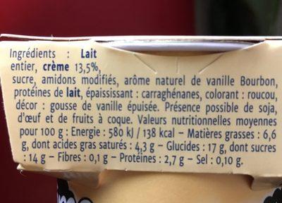 Crème vanille bourbon - Ingrédients - fr