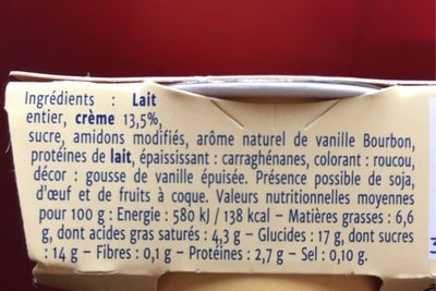 Crème vanille bourbon - Informations nutritionnelles - fr