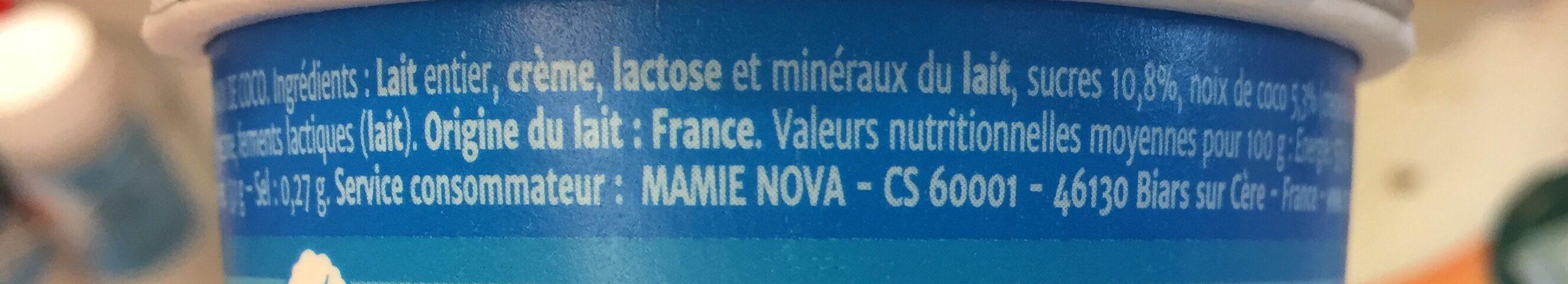Yaourt Gourmand à La Noix De Coco - Ingrédients - fr