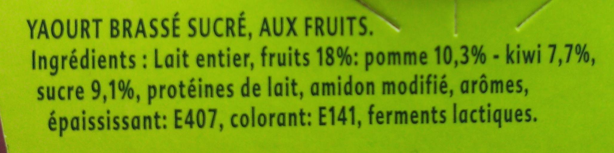 Yaourt Pomme Verte Kiwi - Ingrédients - fr