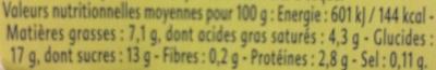 Dessert Fondant Pistache - Informations nutritionnelles - fr