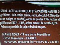 Gourmand Dessert Chocolat Menthe - Ingrédients