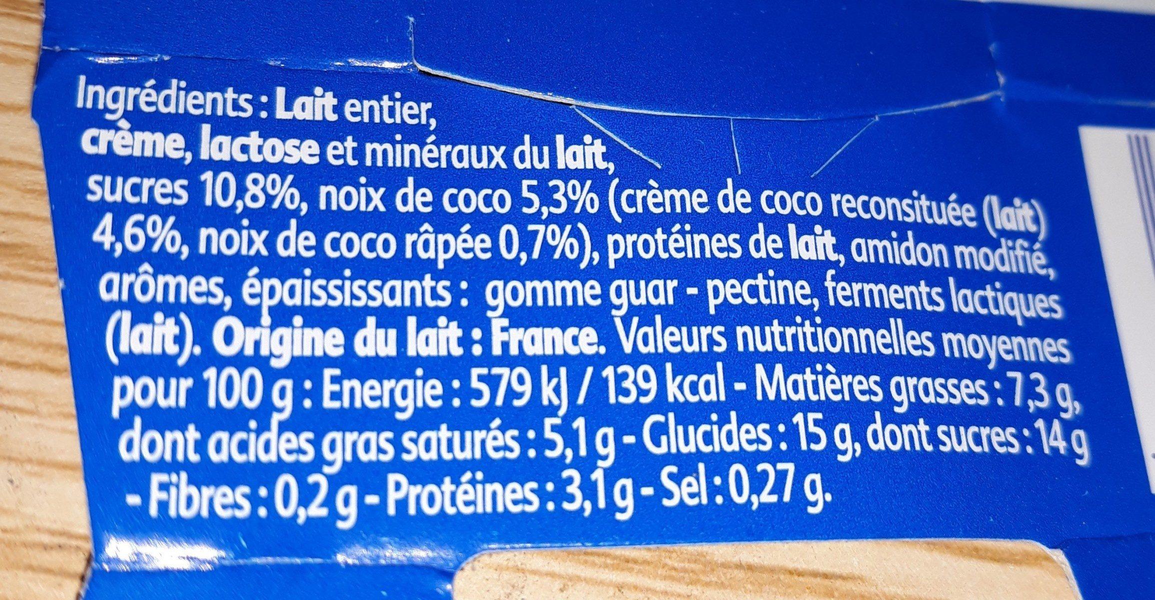 yaourt gourmand noix de coco - Ingrédients - fr