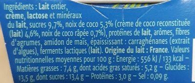 Yaourt Gourmand - noix de coco - Voedigswaarden