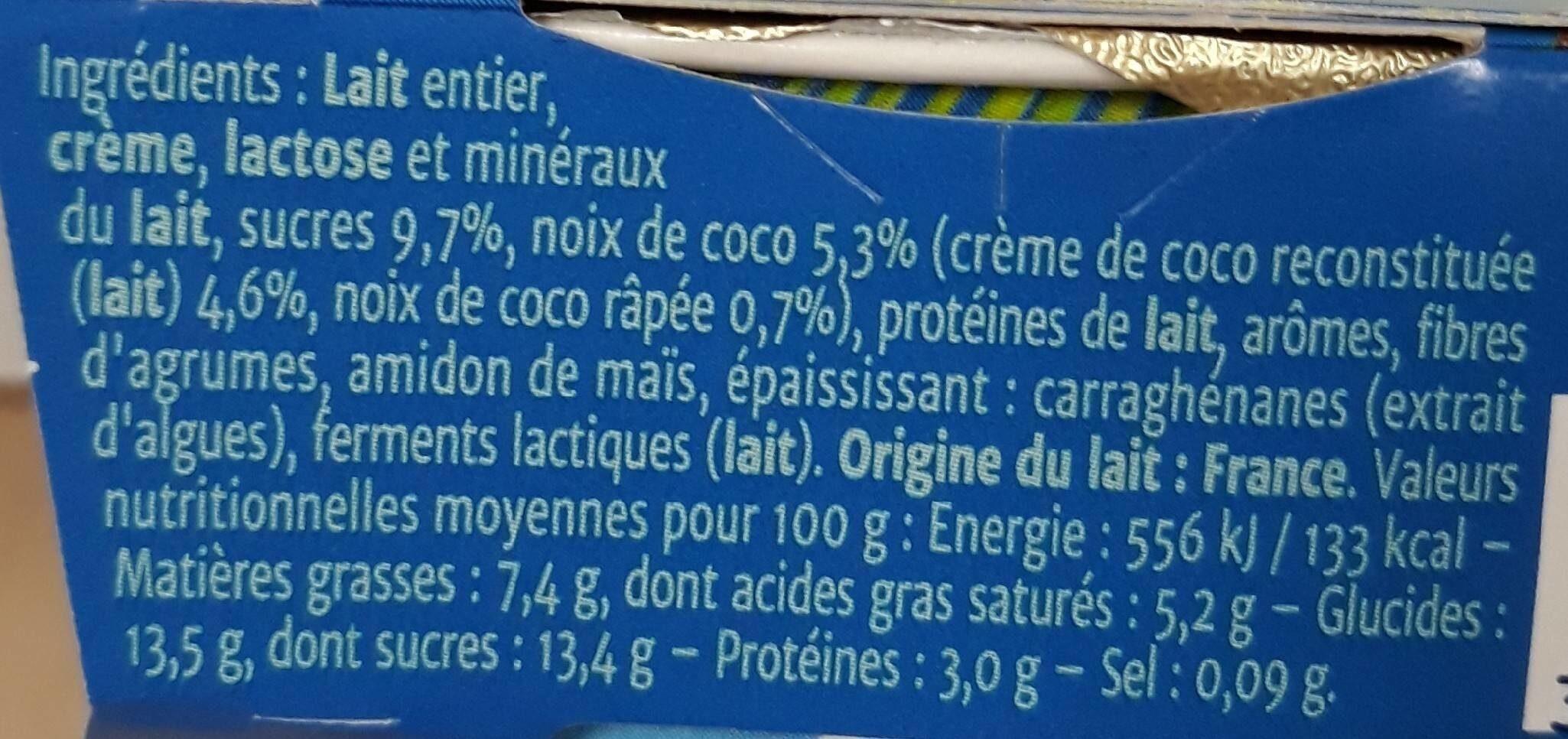 yaourt gourmand noix de coco - Informations nutritionnelles - fr