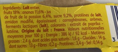 Gourmand Yaourt Ananas Passion - Ingredients