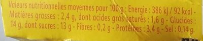 Gourmand Yaourt Ananas Passion - Informations nutritionnelles
