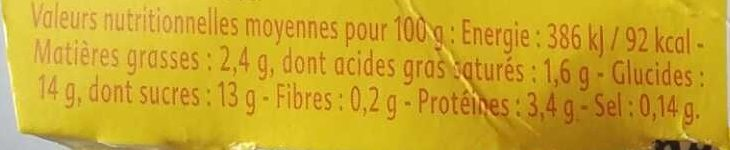 Gourmand Yaourt Ananas Passion - Nutrition facts