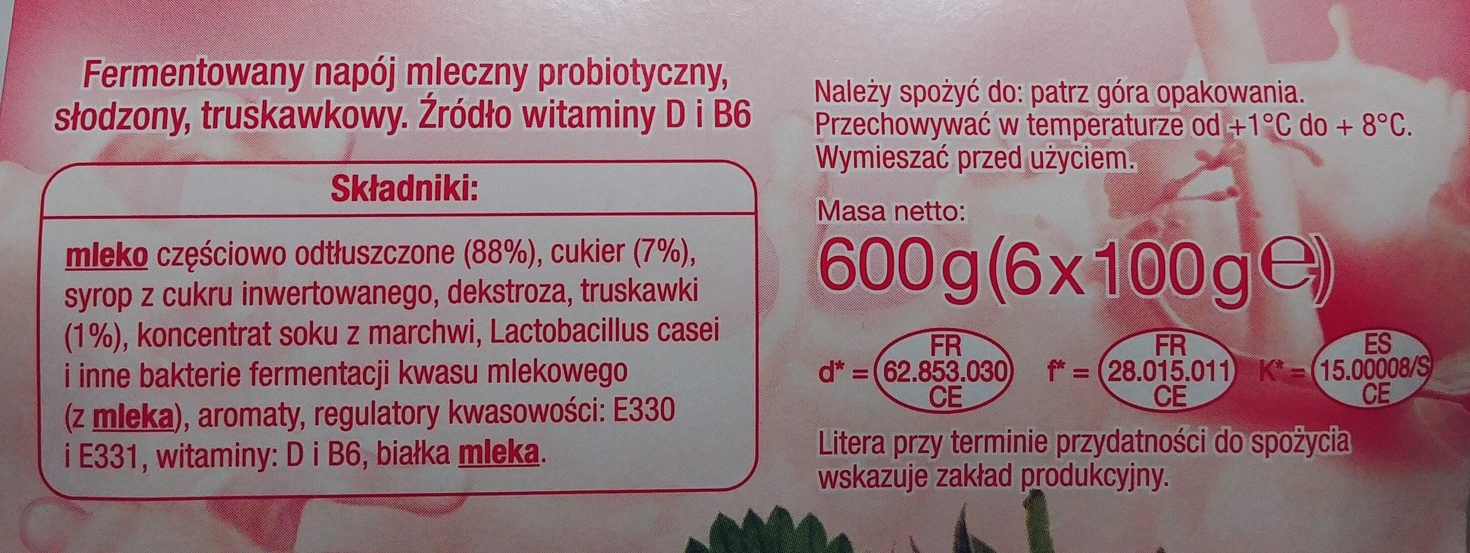Fermentowany napój mleczny probiotyczny, słodzony, truskawkowy. - Składniki