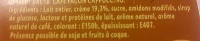 Crème Café Cappucino - Ingrédients - fr