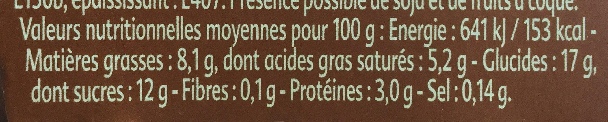 Crème Café Cappucino - Informations nutritionnelles - fr
