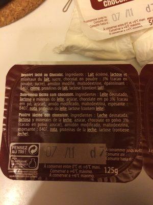 Dessert lacté au chocolat - Ingrediënten