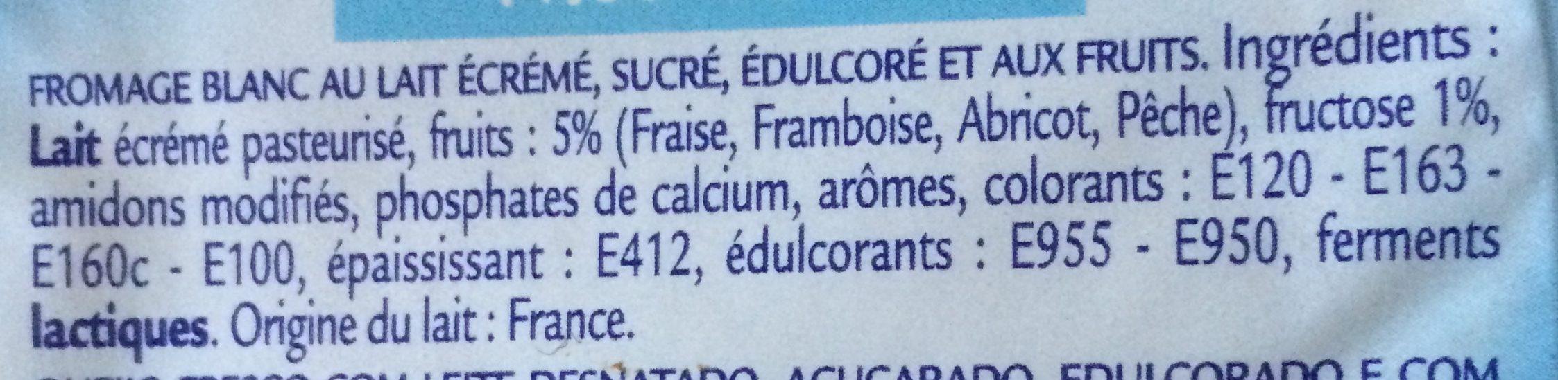 Fromage Frais aux Fruits 0% MG - Ingrediënten - fr
