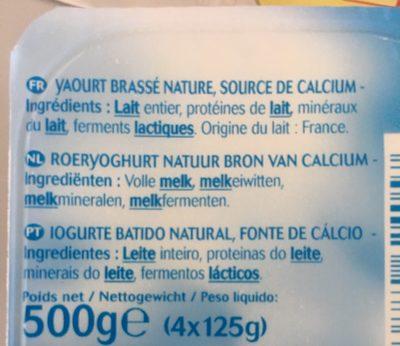 Yaourt Nature Brassé - Ingrédients