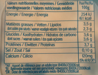 Yaourt Nature Brassé - Informations nutritionnelles