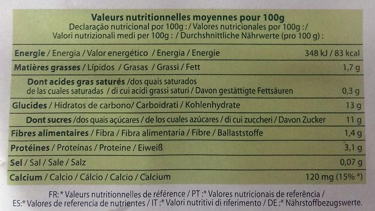 Yogurt soja frutos rojos - Informations nutritionnelles