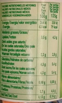 Bifidus Nature - Informations nutritionnelles