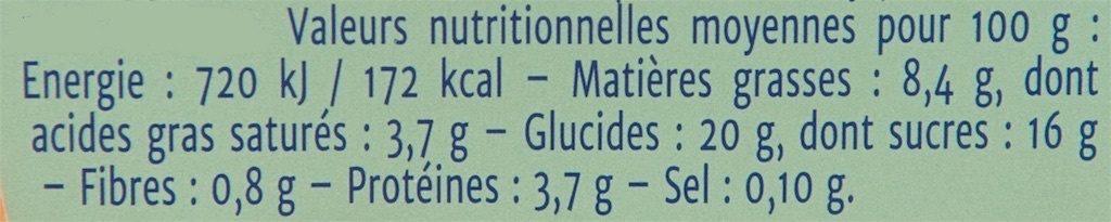 Gourmand Crème Amande - Informations nutritionnelles