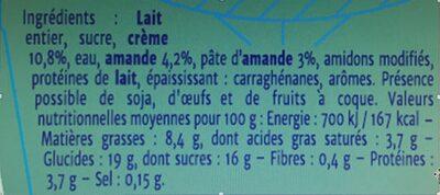 Crème Amande - Nutrition facts - fr