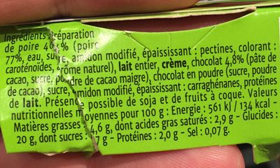 Creme & fruit poire chocolat - Ingredients