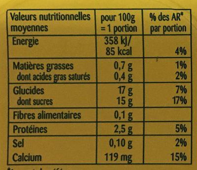 Vanille Lait gélifié aromatisé - Nutrition facts