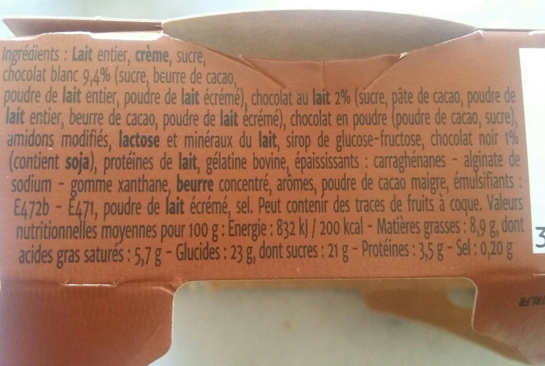 Coeur de Liégeois 3 chocolat - Ingrédients - fr