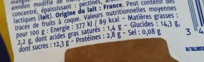 Double Plaisir Mangue - Informations nutritionnelles - fr