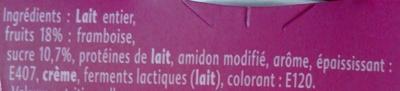 Yaourt gourmand framboise - Ingrédients - fr