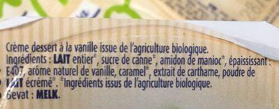 Crème Dessert à La Vanille Bio - Ingrédients