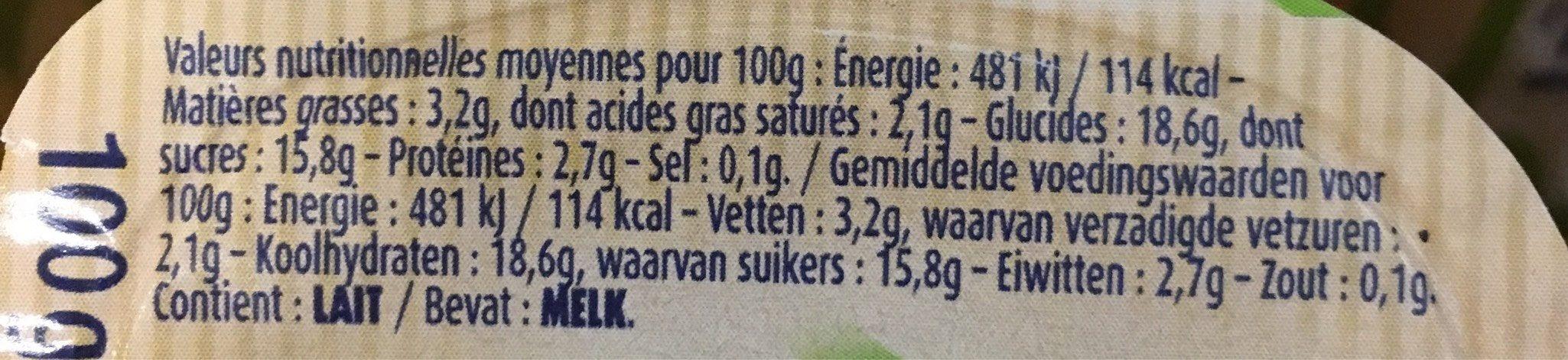 Crème Dessert à La Vanille Bio - Informations nutritionnelles
