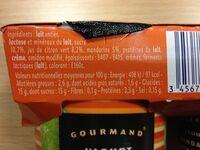 Gourmand Yaourt Mandarine Citron Vert - Nutrition facts