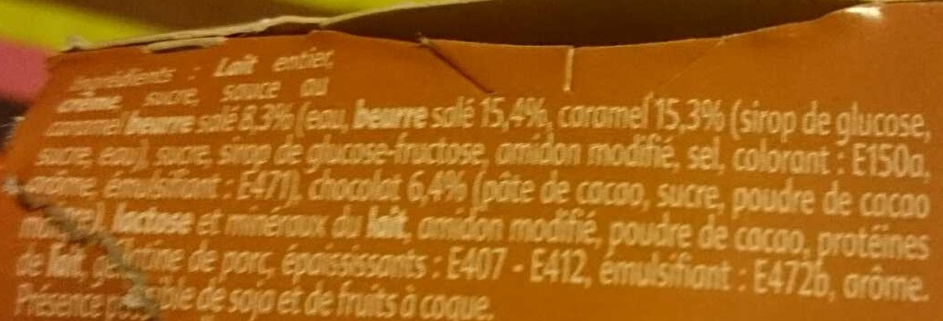 Liégeois Chocolat coeur Caramel beurre salé - Ingredients - fr