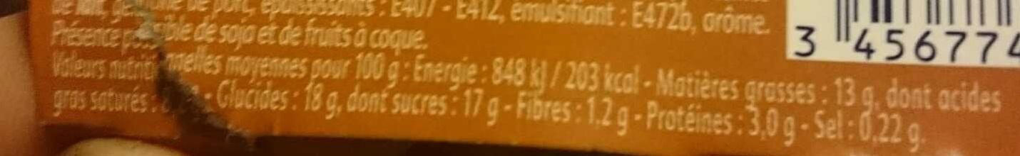 Liégeois Chocolat coeur Caramel beurre salé - Nutrition facts - fr