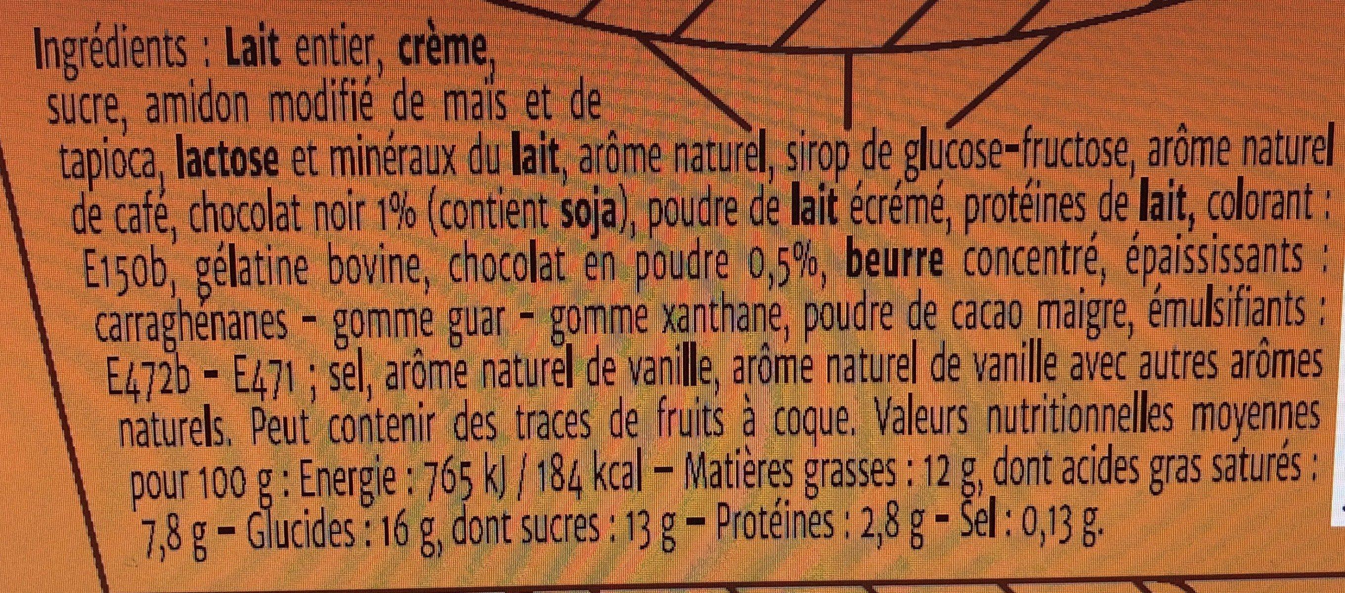 Coeur de Liegeois Cappuccino - Ingredients