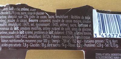 Coeur de Liegeois Cappuccino - Nutrition facts
