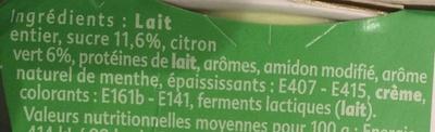 Yaourt saveur Mojito - Ingredients - fr