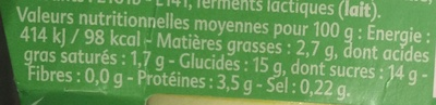 Yaourt saveur Mojito - Nutrition facts - fr