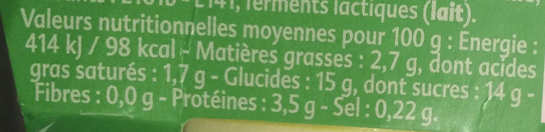 Yaourt saveur Mojito - Informations nutritionnelles - fr
