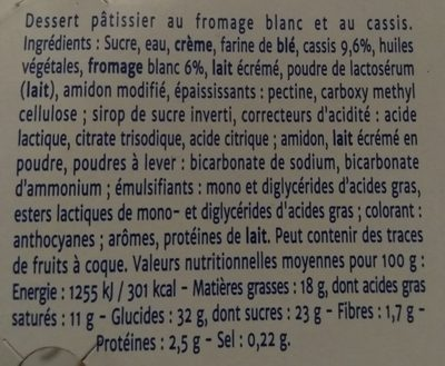 Cheese cake cassis - Ingrédients