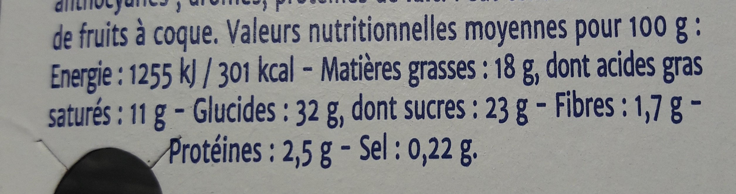 Cheese cake cassis - Informations nutritionnelles - fr
