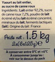 Yaourt Sucre de canne Roux 12x125g - Ingredients
