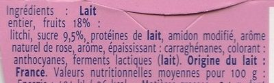 Yaourt Gourmant - litchi et rose - Ingredients