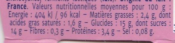 Yaourt Gourmant - litchi et rose - Nutrition facts